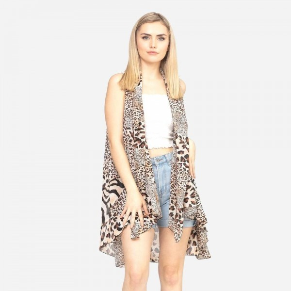 "Women's lightweight sheer multi animal print vest.  - One size fits most 0-14 - Approximately 37"" L - 100% Polyester"
