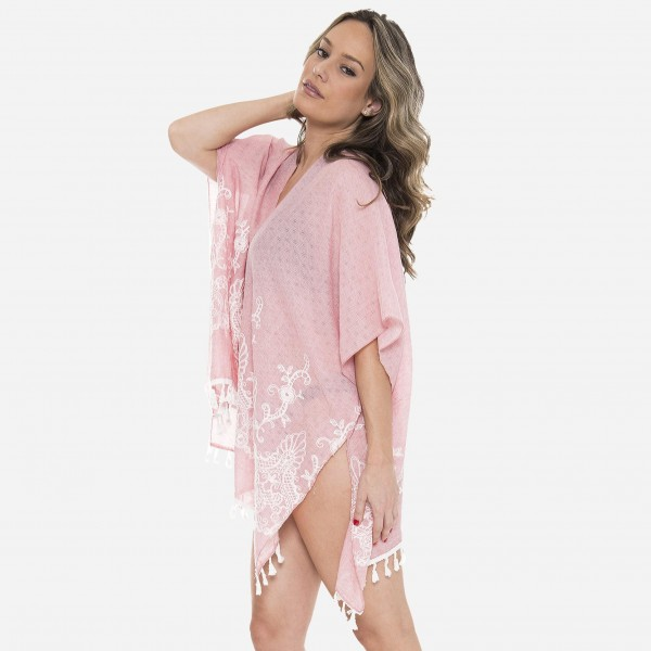 """Women's lightweight floral embroidered tassel kimono.  - One size fits most 0-14 - Approximately 30"""" L - 100% Viscose"""