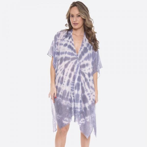 """Women's lightweight tie-die kimono.  - One size fits most 0-14 - Approximately 37"""" L - 100% Polyester"""