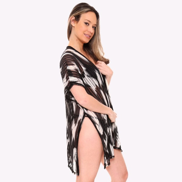 """Women's brushed distressed stripe short kimono.  - One size fits most 0-14 - Approximately 31"""" L  - 100% Viscose"""