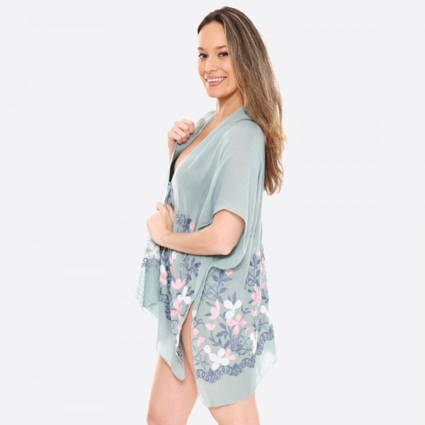 """Women's Lightweight Floral Embroidered Short Kimono.  - One size fits most 0-14 - Approximately 30"""" L - 100% Viscose"""