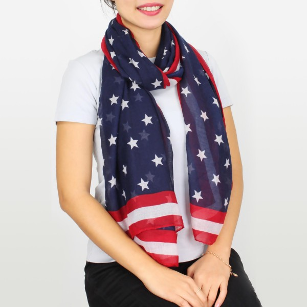 """Women's lightweight stars and stripes scarf.  - Approximately 35"""" W x 74"""" L - 100% Polyester"""