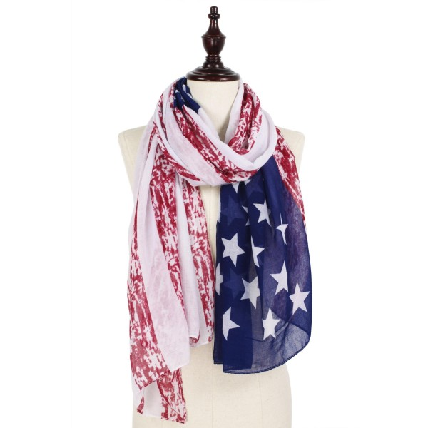 """Women's lightweight distressed USA Flag scarf.  - Approximately 35"""" W x 74"""" L  - 100% Polyester"""