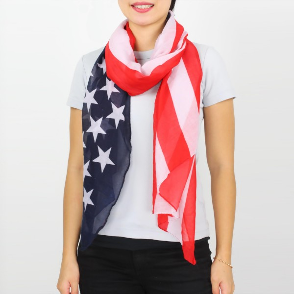 """Women's lightweight USA Flag scarf.  - Approximately 35"""" W x 74"""" L  - 100% Polyester"""