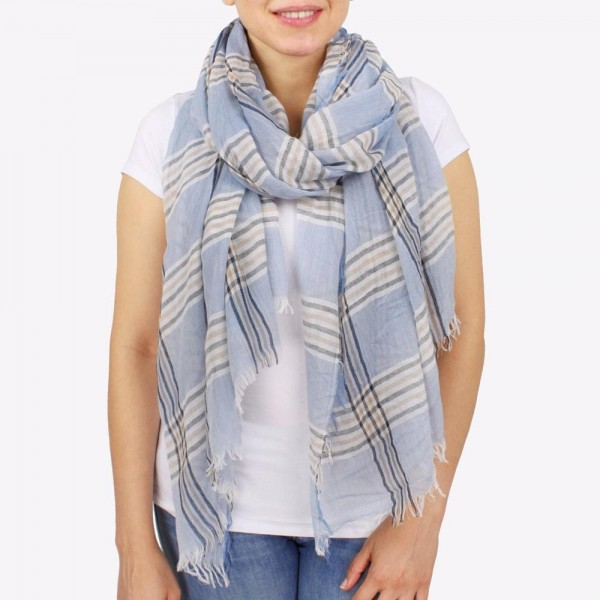 """Women's lightweight plaid scarf with frayed edges.  - Approximately 36"""" W x 84"""" L - 100% Polyester"""