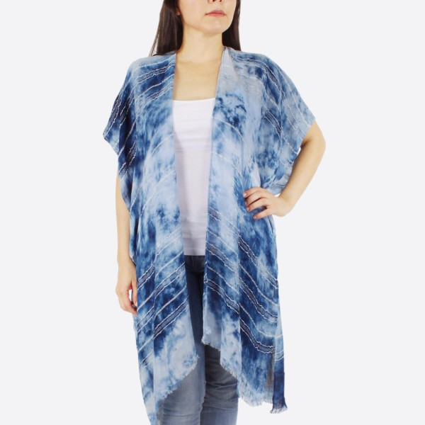 "Women's lightweight marble tie-dye embroidery stitch kimono.  - One size fits most 0-14 - Approximately 37"" L - 100% Polyester"