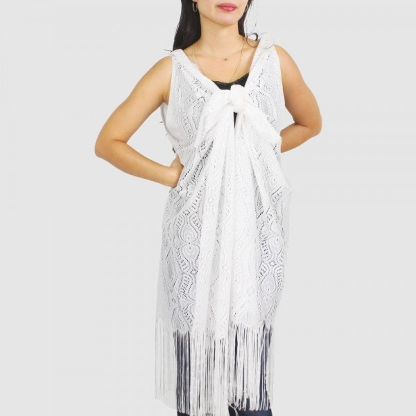 "Women's lightweight lace vest kimono with fringe tassels.  - One size fits most 0-14 - Approximately 41"" L - 100% Polyester"