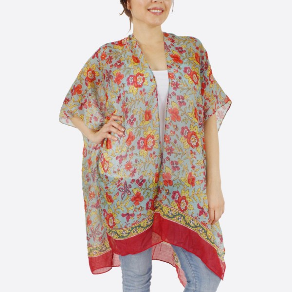"Women's lightweight bordered oriental flower kimono.  - One size fits most 0-14 - Approximately 37"" L - 100% Polyester"