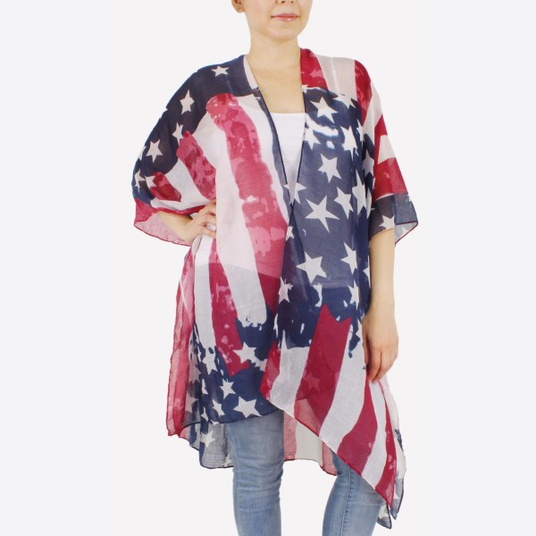 "Women's lightweight distressed USA kimono.  - One size fits most 0-14 - Approximately 37"" L - 100% Polyester"