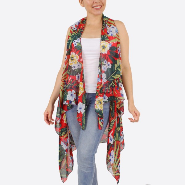 "Women's lightweight tropical kimono vest.  - One size fits most 0-14 - Approximately 37"" L - 100% Polyester"
