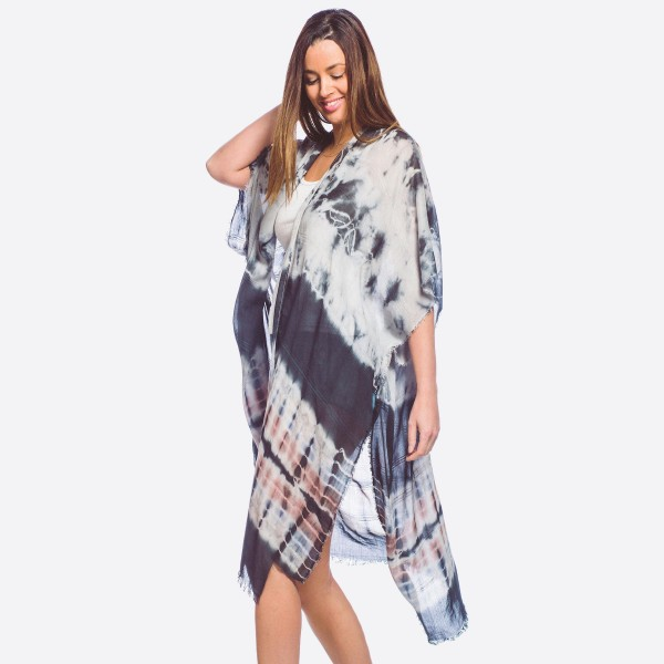 """Women's lightweight tie-dye maxi kimono with fringes.  - One size fits most 0-14 - Approximately 40"""" L - 100% Viscose"""