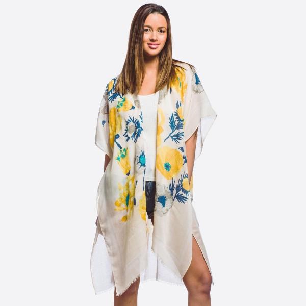 Wholesale women s lightweight flower blossom kimono gold metallic accents One fi