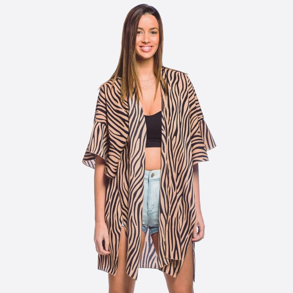 Wholesale women s lightweight zebra print ruffle kimono One fits most L Polyeste