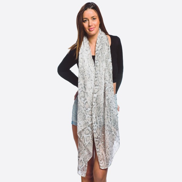 Wholesale women s lightweight snakeskin scarf silver metallic accents W L Polyes