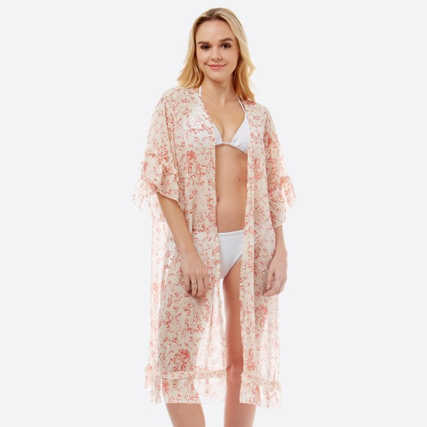 "Women's lightweight oriental ruffle kimono with glitter accents.  - One size fits most 0-14 - Approximately 41"" L - 100% Polyester"