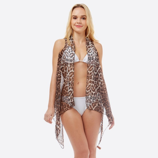 "Women's lightweight sheer leopard print swimsuit cover up vest.  - One size fits most 0-14 - Approximately 30"" L - 100% Polyester"