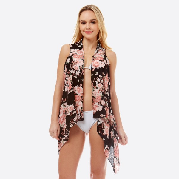 """Women's lightweight rose floral short vest kimono.  - One size fits most 0-14 - Approximately 27"""" L in back and 35"""" in front  - 100% Polyester"""