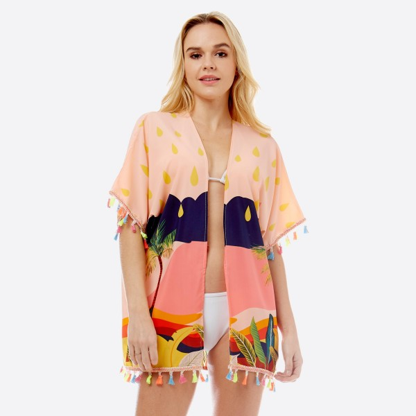 """Women's lightweight florescent tropical beach short kimono with tassel accents.  - One size fits most 0-14 - Approximately 27"""" L  - 100% Polyester"""
