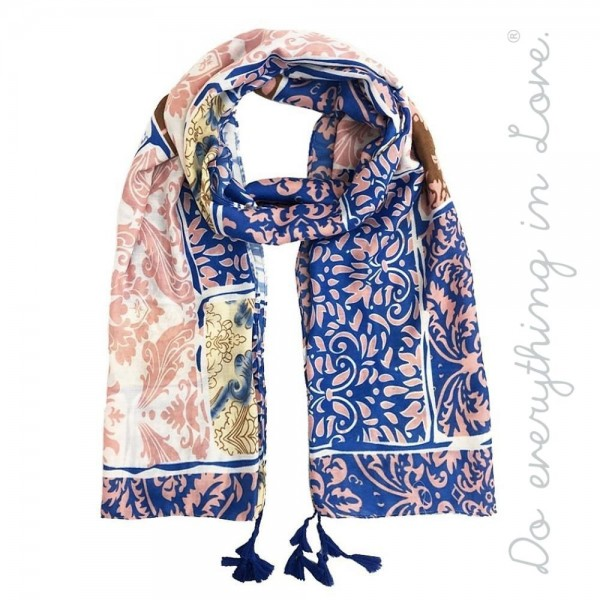 """Do everything in Love brand lightweight floral patchwork print tassel scarf.  - Approximately 34"""" W x 70"""" L - 100% Polyester"""