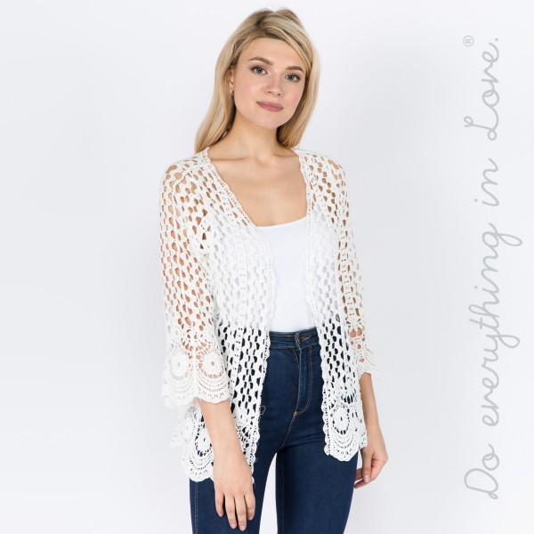 """Do everything in Love brand women's solid crochet short cardigan.  - One size fits most 0-14 - Approximately 22"""" L - 100% Cotton"""