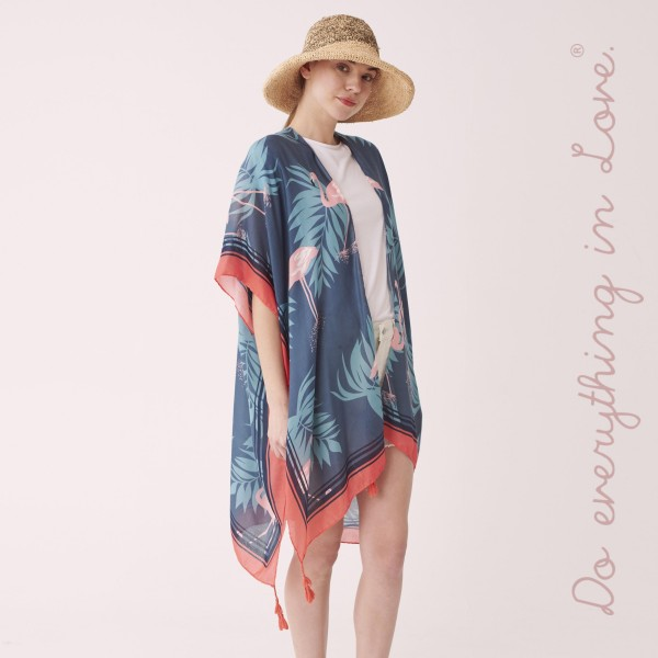 """Do everything in Love brand women's lightweight tropical flamingo tassel kimono.  - One size fits most 0-14 - Approximately 37"""" L - 100% Polyester"""