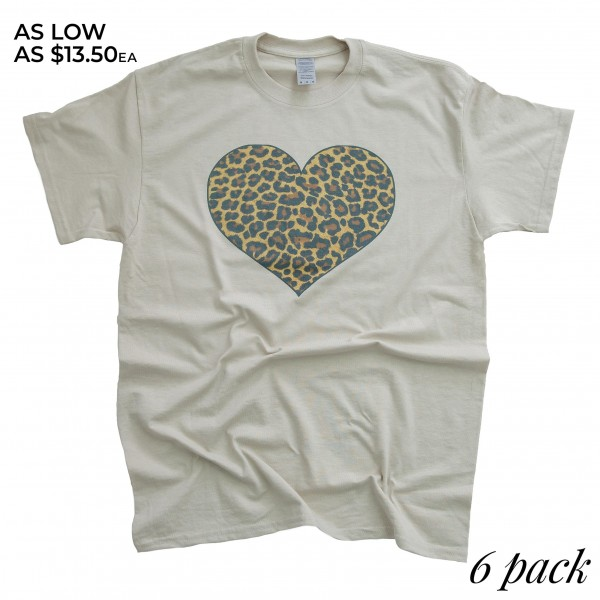 Stone Gildan Dryblend brand leopard heart screen printed boutique graphic tee.  - Pack Breakdown: 6pcs/pack - Sizes: 1S / 2M / 2L / 1XL - 50% Cotton, 50% Polyester