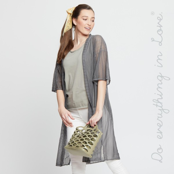 """Do everything in Love brand women's ultra lightweight sheer mesh maxi kimono.  - One size fits most 0-14 - Approximately 40"""" L - 100% Polyester"""
