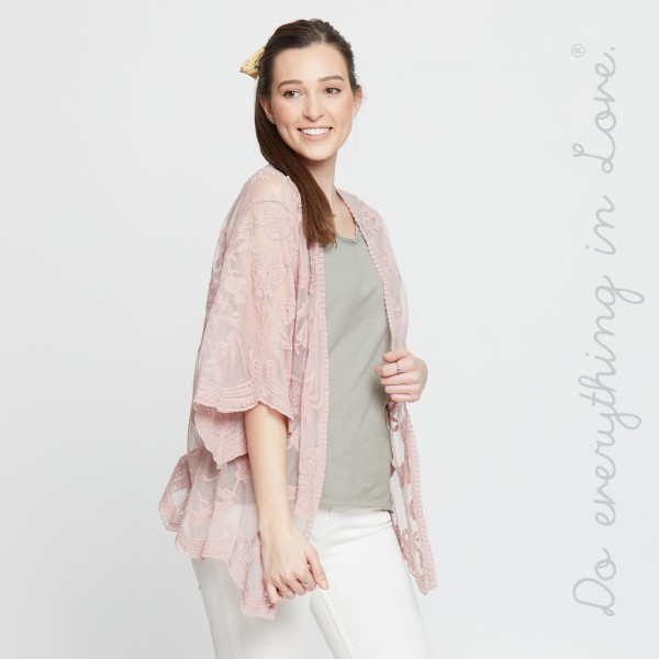 """Do everything in Love brand women's lightweight mesh floral embroidered short kimono.  - One size fits most 0-14 - Approximately 26"""" L - 100% Cotton"""