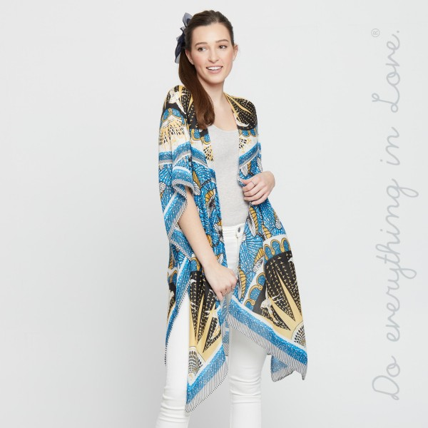 """Do everything in Love brand women's lightweight blue geometric oriental kimono.  - One size fits most 0-14 - Approximately 37"""" L - 100% Polyester"""