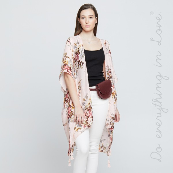 """Do everything in Love brand women's lightweight vintage floral kimono with tassels.  - One size fits most 0-14 - Approximately 37"""" L - 100% Polyester"""
