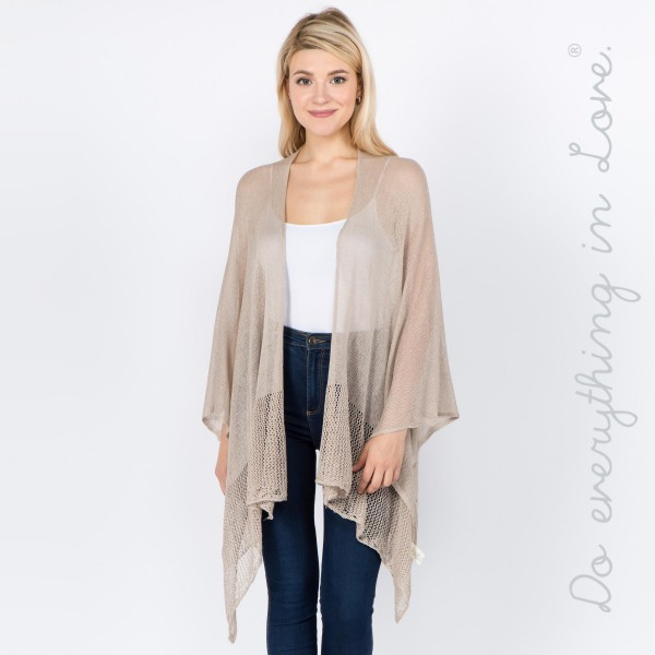 """Do everything in Love brand women's lightweight knit ruana.  - One size fits most 0-14 - Approximately 25"""" L - 85% Viscose, 15% Nylon"""