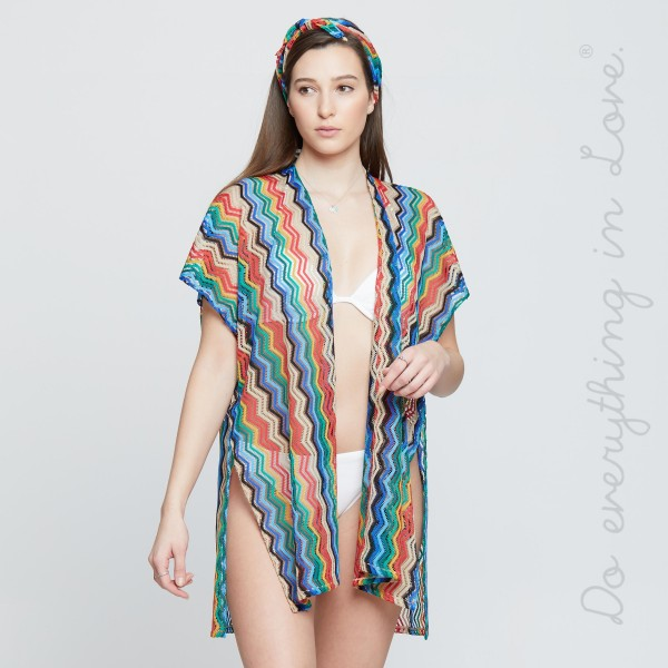 """Do everything in Love brand women's lightweight open knit zigzag kimono.  - One size fits most 0-14 - Approximately 35"""" L - 100% Polyester"""