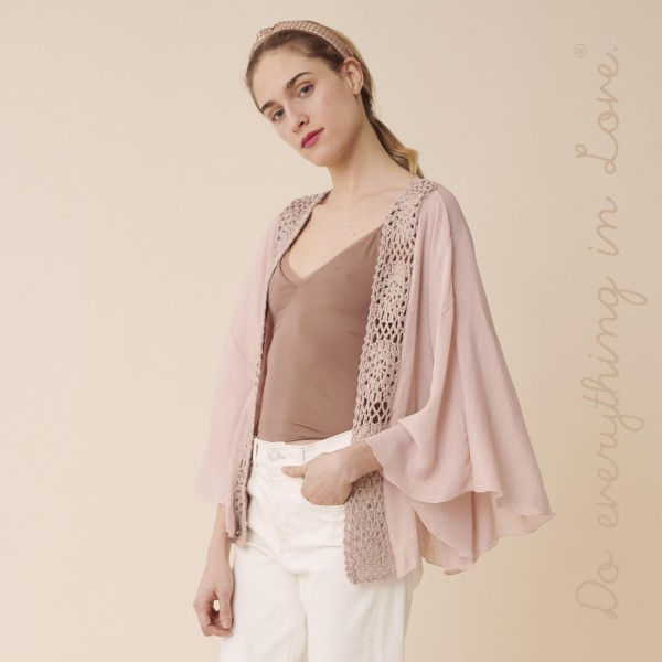 """Do everything in Love brand women's lightweight crochet trim short kimono.  - One size fits most 0-14 - Approximately 23"""" L - 100% Polyester"""