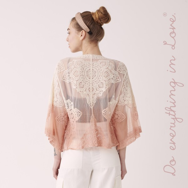 """Do everything in Love women's lightweight tie dye floral lace cardigan.  - One size fits most 0-14 - Approximately 19"""" L - 50% Cotton, 50% Nylon"""