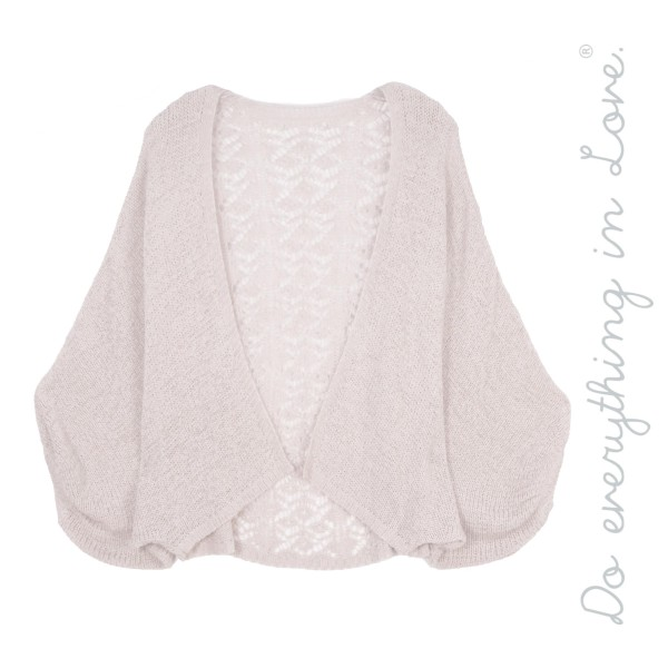 """Do everything in Love brand women's lightweight crochet lace back short cardigan with balloon sleeves  - One size fits most 0-14 - Approximately 20"""" L - 60% Acrylic / 40% Nylon"""