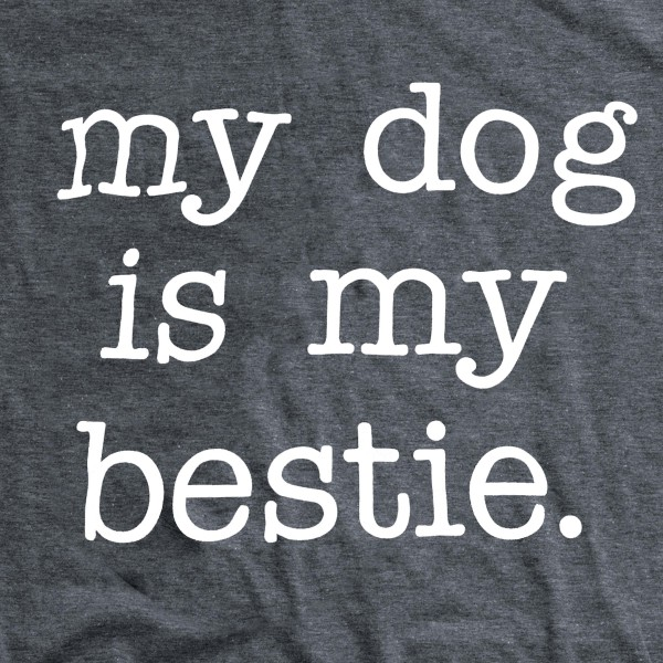 """Charcoal Grey Anvil Lightweight brand short sleeve """"My Dog Is My Bestie"""" screen printed boutique graphic tee.  - Pack Breakdown: 6pcs/pack - Sizes: 1S / 2M / 2L / 1XL - 65% Polyester, 35% Cotton"""