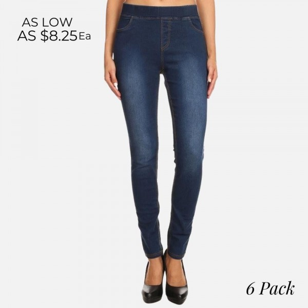 "Women's classic pull on denim jeggings.  - Pull on style  - 4 functional pockets - Elastic 1.5"" waistband  - Pack Breakdown: 6pcs/pack - Sizes: 2S / 2M / 2L - Inseam approx. 29"" L - 76% Cotton, 22% Polyester, 2% Spandex"