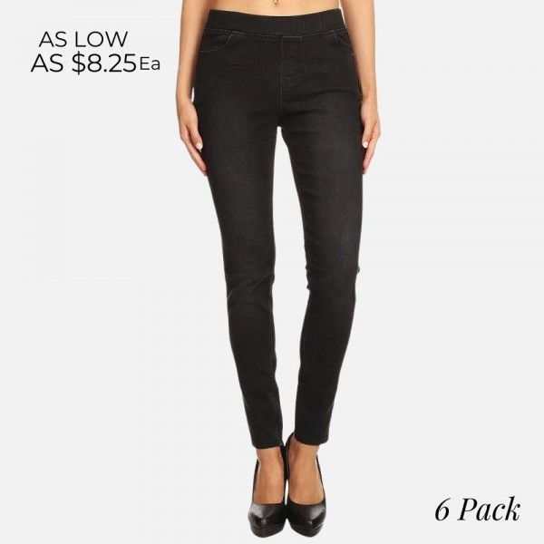 "Women's classic pull on black jeggings.  - Pull on style  - 4 functional pockets - Elastic 1.5"" waistband  - Pack Breakdown: 6pcs/pack - Sizes: 2S / 2M / 2L - Inseam approx. 29"" L - 76% Cotton, 22% Polyester, 2% Spandex"