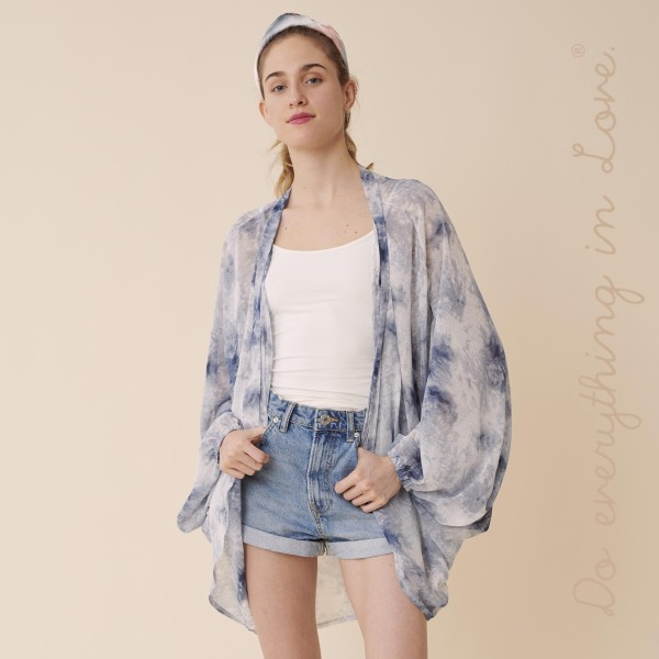 """Do everything in Love brand women's lightweight sheer tie-dye print kimono.  - One size fits most 0-14 - Approximately 33"""" L - 100% Polyester"""