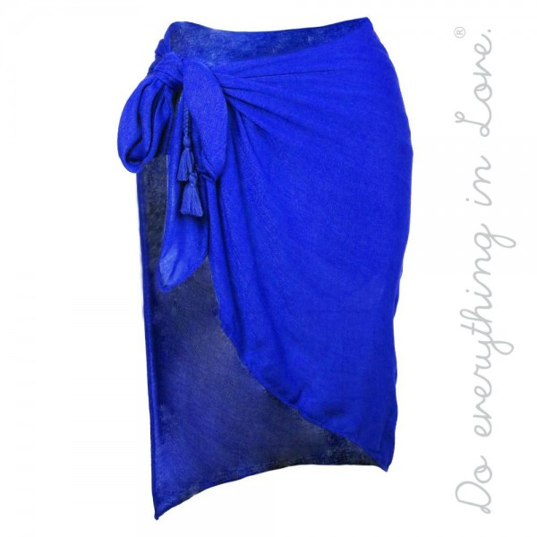 "Do everything in Love brand solid lightweight sarong wrap with side tassel tie detail.  - Approximately 40"" W x 37"" L - 100% Viscose"