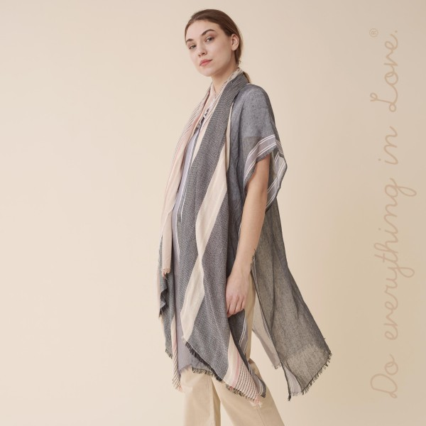 """Do everything in Love brand women's lightweight sheer metallic stripe scarf.  - Approximately 33"""" W x 80"""" L - 100% Polyester"""