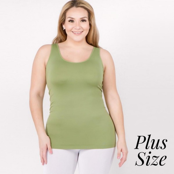 "Women's Plus solid color seamless tank top.  • Round Neckline • Body-con • Sleeveless • Fitted • Solid Color • Super Soft • Stretchy  - One size fits most plus 16-22 - Approximately 22"" L  - 92% Nylon, 8% Spandex"