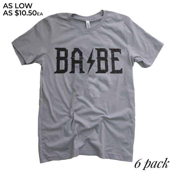 """Storm Grey Bella Canvas brand rock n roll """"BABE"""" screen printed boutique graphic tee.  - Pack Breakdown: 6pcs/pack - Sizes: 1S / 2M / 2L / 1XL - 100% Cotton"""