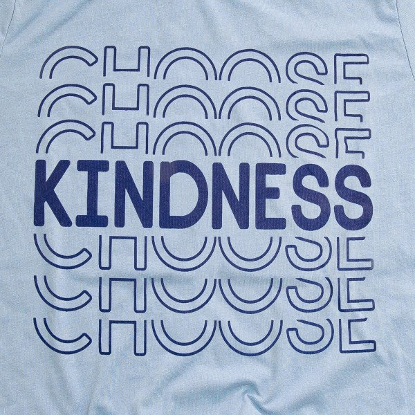 "Light Blue Bella Canvas brand ""Choose Kindness"" screen printed boutique graphic tee.  - Pack Breakdown: 6pcs/pack - Sizes: 1S / 2M / 2L / 1XL - 100% Cotton"