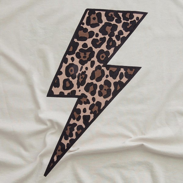 Beige Bella Canvas brand leopard print lightning bolt screen printed boutique graphic tee.  - Pack Breakdown: 6pcs/pack - Sizes: 1S / 2M / 2L / 1XL - 52% Cotton, 48% Polyester