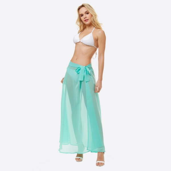 """Women's lightweight solid sheer beach wrap sarong.  - One size fits most 0-14 - Approximately 40"""" L - 100% Polyester"""