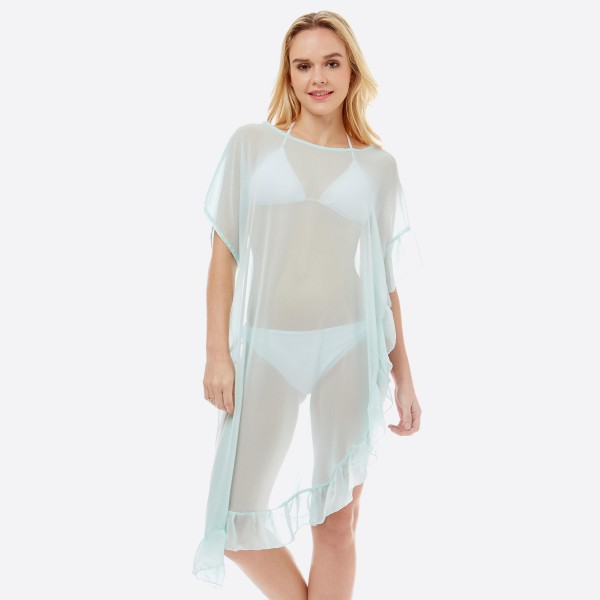 """Women's lightweight solid sheer half ruffle cover up top.  - One size fits most 0-14 - Approximately 38"""" L - 100% Polyester"""