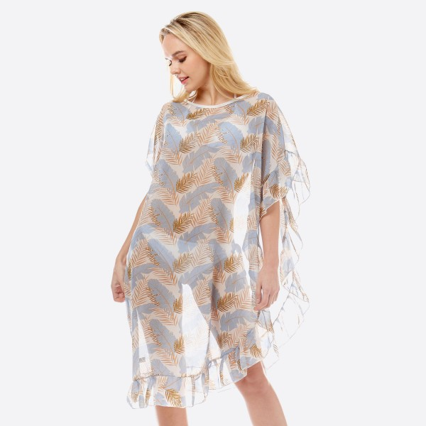 """Women's lightweight sheer tropical leaf half ruffle cover up top.  - One size fits most 0-14 - Approximately 38"""" L - 100% Polyester"""