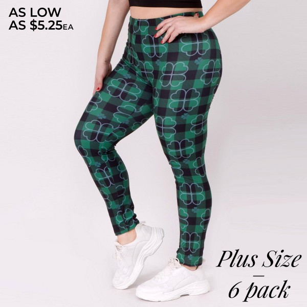 """Women's Plus plaid clover print leggings.  • High rise elasticized waistband • Four leaf clover plaid print • Super soft and stretchy fabrication • Fits like a glove • Full length design • Pull on/off styling • Perfect for styling with sneakers, flats, or heels • Hand Wash Cold. Do not bleach. Hang Dry • Imported  - Pack Breakdown: 6pcs/pack - One size fits most plus 16-22 - Inseam approximately 29"""" L - 95% Polyester, 5% Spandex"""