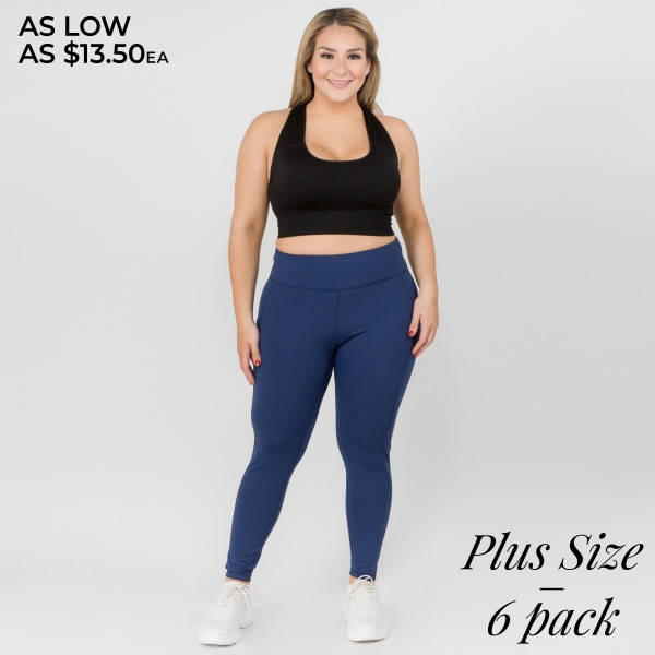 """Women's Plus active high waist tech pocket workout leggings.  • Waistband with interior pocket and back zipper pocket • Figure sculpting skinny leg design • Exterior side pocket along leg • Stretchy Nylon fabric • Flat seams for a no-chafe irritation • 4-way-stretch fabric  • Flat-locked seaming  • Ankle-length • Hand Wash Cold, Do Not Bleach, Hang Dry • Imported  - Pack Breakdown: 6pcs/pack - Sizes: 2-XL / 2-2XL / 2-3XL  - Inseam approximately 29"""" L -  83% Nylon, 17% Spandex"""